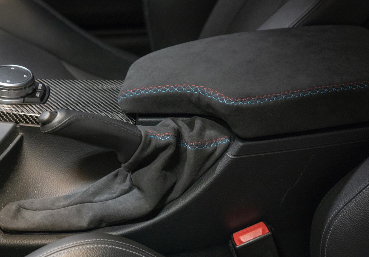 Black Alcantara-Blue Thread RedlineGoods Shift Boot Compatible with Mazda 3 2004-09