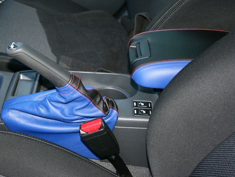 Subaru Impreza WRX STI Console Armrest Vinyl Cover Beige Stitch for 08-16